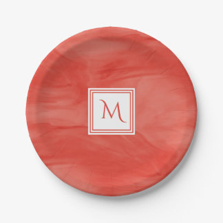 Prato De Papel Monograma moderno de mármore subtil alaranjado