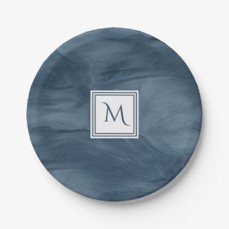 Prato De Papel Monograma moderno de mármore subtil dos azuis
