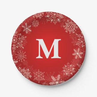 Prato De Papel Monograma vermelho do círculo do floco de neve