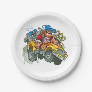 Prato De Papel Monster truck do buldogue e do campónio