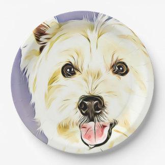 Prato De Papel Montanhas Terrier branco ocidentais, Westie, cão,