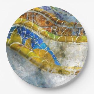 Prato De Papel Mosaicos do banco de Parc Guell na espanha de