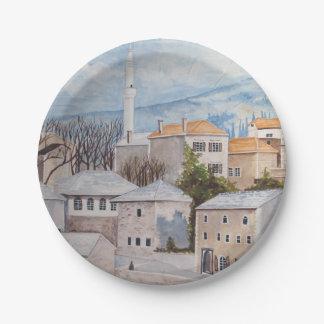 Prato De Papel Mostar, Bósnia - pintura acrílica de Townscape