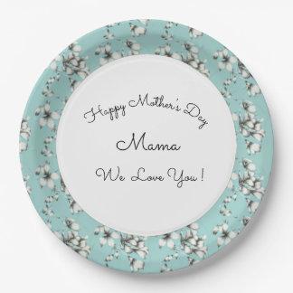 Prato De Papel Mother's-Day_Celebrations-Blue-White-Floral_II