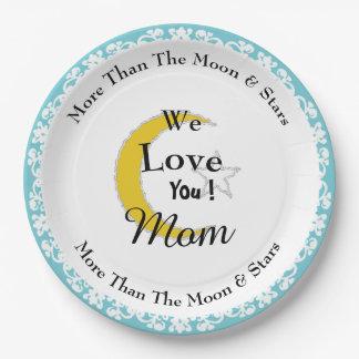 Prato De Papel Mother's-Day-Moon-Star_Robin's-Egg-Blue_Template