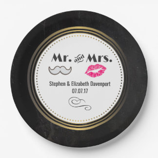 Prato De Papel Moustache & lábios Sr. & Sra. Preto & casamento do