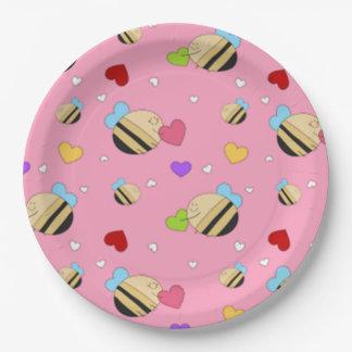 Prato De Papel Namorados da mina da abelha