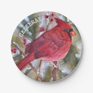 Prato De Papel Natal cardinal vermelho