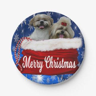 Prato De Papel Natal da placa do tzu de Shih