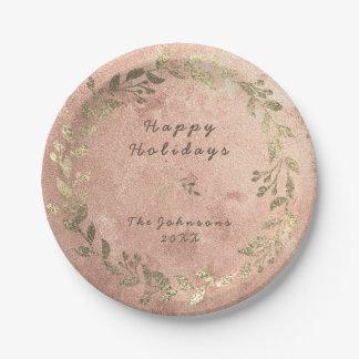 Prato De Papel Natal de cobre do louro do ouro do rosa do rosa da
