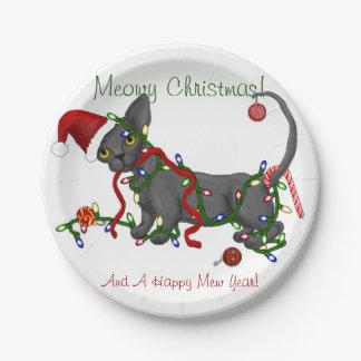 Prato De Papel Natal de Meowy! Placas de Sphynx e de bebê