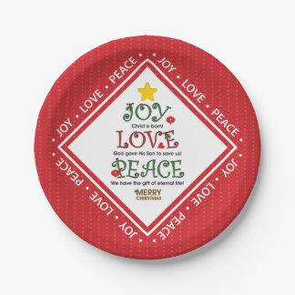 Prato De Papel Natal do cristão da paz do amor da alegria