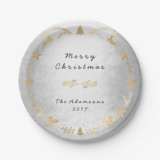 Prato De Papel Natal do ouro das cinzas de prata da casa de campo