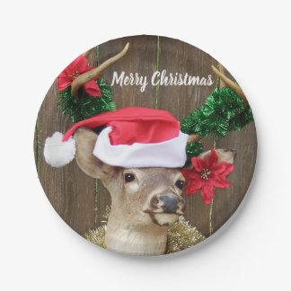 Prato De Papel Natal engraçado dos cervos do fanfarrão do