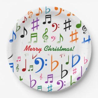 Prato De Papel Natal; Muitos notas e símbolos coloridos da música