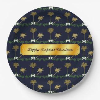 Prato De Papel Natal tropical do azul e do ouro com palmeiras