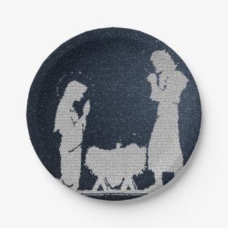 Prato De Papel Natividade azul Textured