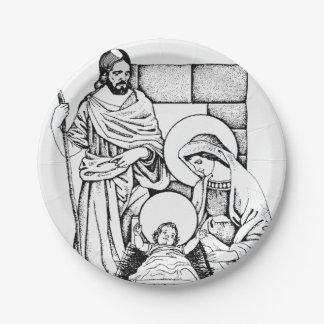 Prato De Papel Natividade branca e azul preta original