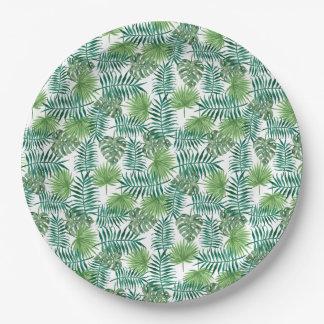 Prato De Papel Natureza elegante das folhas tropicais da selva