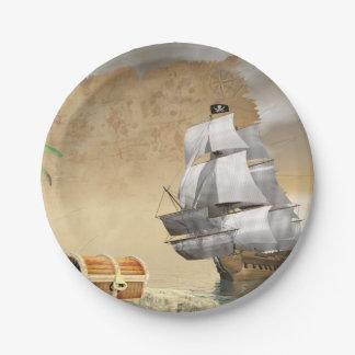 Prato De Papel Navio de pirata que encontra o tesouro - 3D rendem