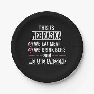 Prato De Papel Nebraska come a cerveja da bebida da carne