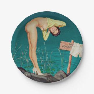 Prato De Papel Nenhuma menina do pinup do vintage da natação