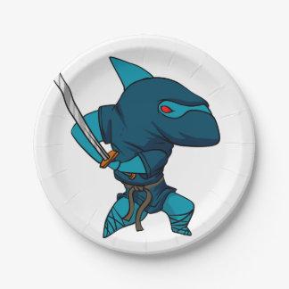Prato De Papel Ninja do tubarão