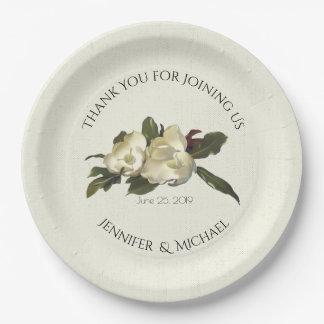 Prato De Papel No amor - costume floral do casamento da magnólia