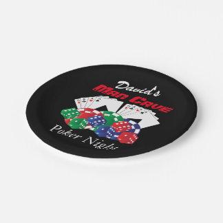 Prato De Papel Noite do póquer na caverna do homem
