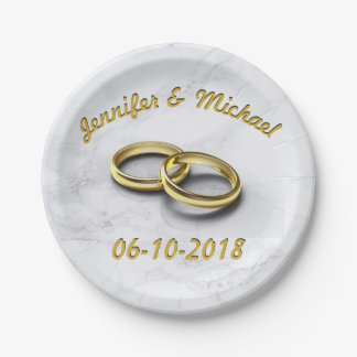 Prato De Papel Noiva da data do casamento & anéis de ouro