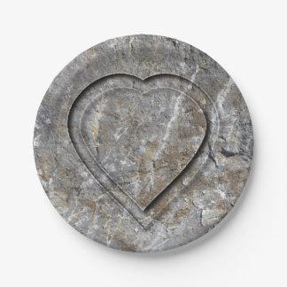 Prato De Papel Noivos cinzelados pedra do coração