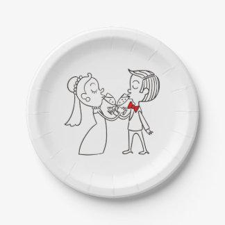 Prato De Papel Noivos preto e branco do casamento