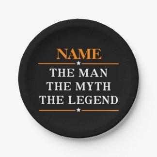 Prato De Papel Nome personalizado o homem o mito a legenda