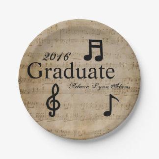 Prato De Papel Notas musicais - placa de papel da graduação