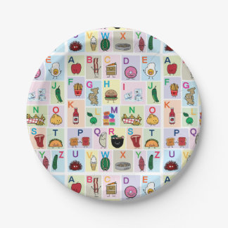 Prato De Papel O alfabeto de ABC que aprende alimentos felizes