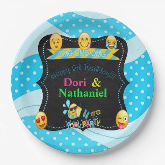 Prato De Papel O aniversário da festa na piscina de Emoji chapeia