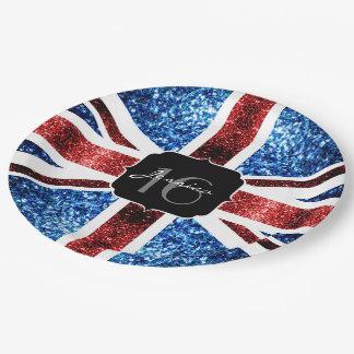 Prato De Papel O azul vermelho da bandeira BRITÂNICA sparkles o