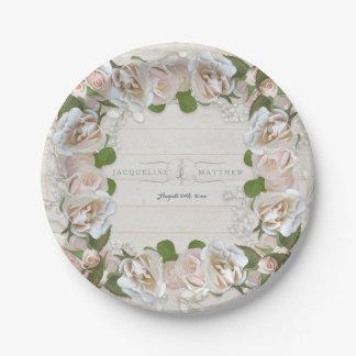 Prato De Papel O chá de panela rústico cora grinalda cor-de-rosa