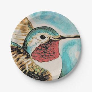 Prato De Papel O colibri bonito da costela