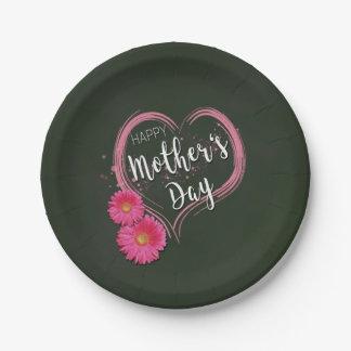 Prato De Papel O coração cor-de-rosa floresce o dia das mães -