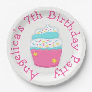 Prato De Papel O cupcake e polvilha a festa de aniversário