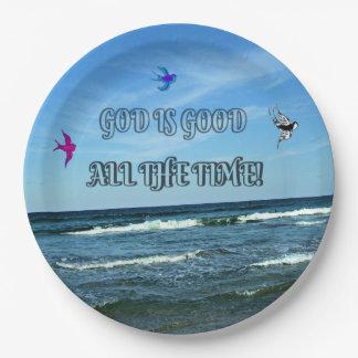 Prato De Papel O deus é bom todo o tempo