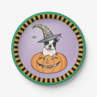 Prato De Papel O Dia das Bruxas Boston Terrier