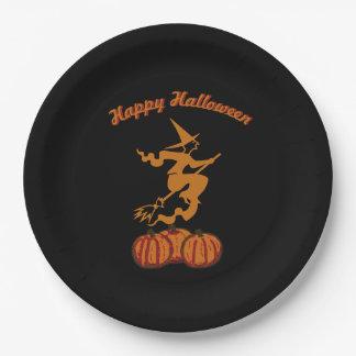 Prato De Papel O Dia das Bruxas feliz - bruxa alaranjada no preto