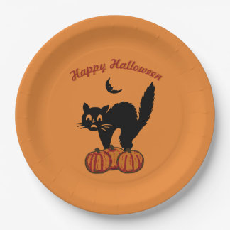 Prato De Papel O Dia das Bruxas feliz - gato preto na laranja