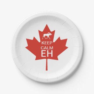 Prato De Papel O dia de Canadá MANTEM o EH CALMO