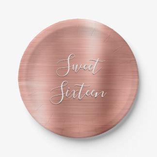 Prato De Papel O doce bonito ouro cor-de-rosa de 16 aniversários