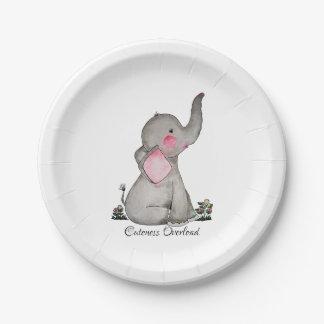 Prato De Papel O elefante bonito do bebê da aguarela com cora &