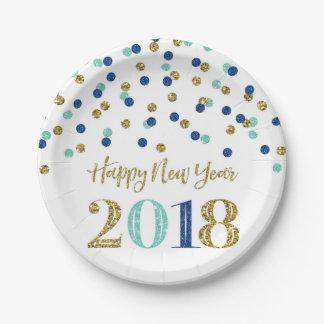 Prato De Papel O feliz ano novo azul 2018 dos confetes do brilho