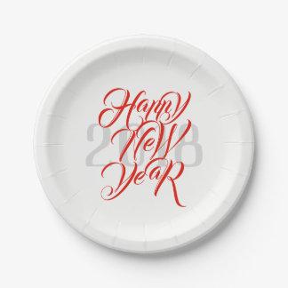 Prato De Papel O feliz ano novo - roteiro vermelho corajoso & ano